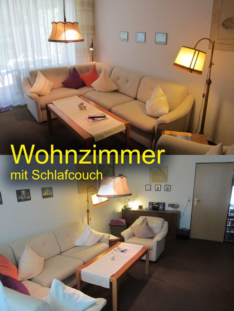 Andere Ansicht vom Wohnzimmer mit der Schlafcouch für 2 Erwachsene
